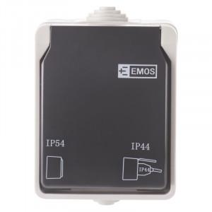 Priza simpla cu impamantare si protectie, cu capac, 16A, montaj aplicat, protectie IP44, pentru exterior, Emos