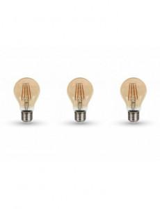 Set 3 becuri led Vintage, chip Samsung, 4W(30W), E27, 350 lm, A+, lumina calda, V-TAC