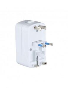 Adaptor universal, protectie supratensiune + 2 porturi USB 5V 2A, alb, V-TAC