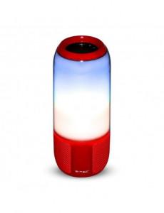 Boxa Bluetooth LED RGB portabila, slot microSD, jack 3.5mm, 3 ore, rosie, V-TAC