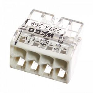 Clema legatura 8 poli 0.5-2.5 mmp, pentru conductori unifilari, 450V, 24A, Wago