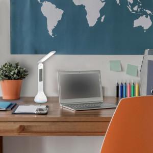 Lampa de birou LED 4W Justin 1515, dimabila, RGB, cu ceas si calendar, Rabalux