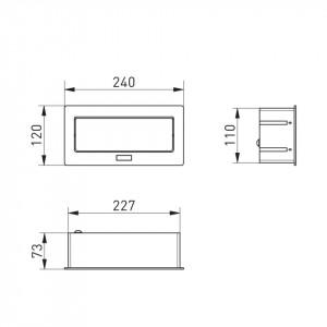 Priza incastrabila dreptunghiulara cu 2 prize schuko si 2 prize USB 5V 2.1A GTV AE-PBSUC2GS