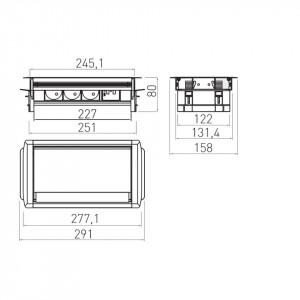Dimensiuni priza incastrabila dreptunghiulara cu perii, 3 prize schuko si 2 USB 5V 2.1A, aluminiu, GTV, AE-PBC3GS2U-53BKS