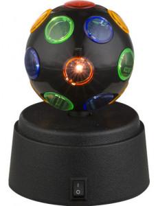 Veioza disco din plastic negru multicolor, Globo 28017