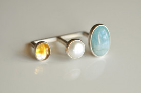 90° aquamarine, citrine and pearl two-fingers open ring