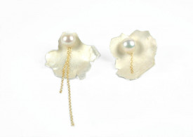 moon flower 14k/20 gold filled and sterling silver earrings