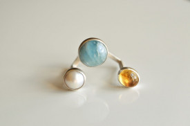 90° small finger ring with aquamarine, citrine, pearl in sterling silver