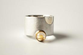 inel Match Point din argint si aur 14 k cu citrin