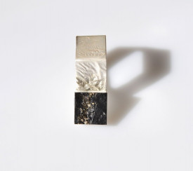 Inel in design contemporan realizat manual din argint, cu pirita pe sist, Corina Mardari