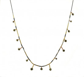 Supernova2 sterling silver and 14k/20 gold filled pyrite drops necklace