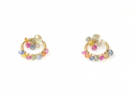 Blossom multi colored sapphire 14k/20 gold filled woven stud earrings