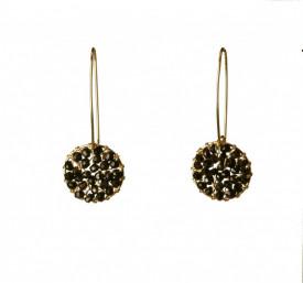 Pendulum 14k/20 gold filled woven black tourmaline earrings