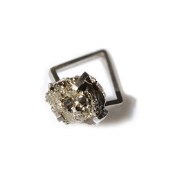 Mimesis sterling silver pyrite crystal ring