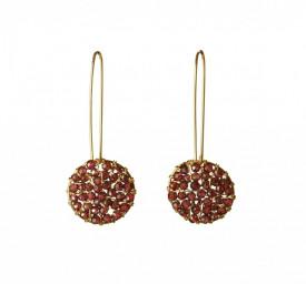 Pendulum garnet earrings in 14k/20 gold filled