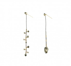 Supernova pyrite asymmetrical earrings in 14k / 20 gold filled and sterling silver