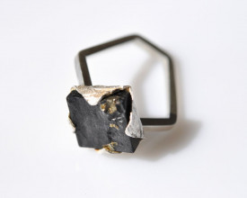 Mimesis sterling silver pyrite on schist ring