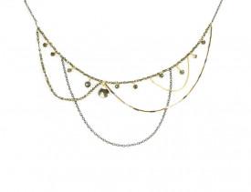colier cu drapaje Supernova din gold filled de 14k/20 si argint cu pirite