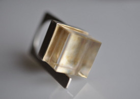 Magic Cube quartz gold plated sterling silver ring