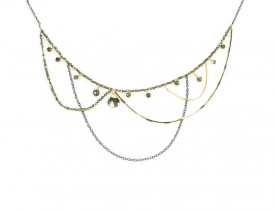 Supernova sterling silver and 14k/20 gold filled pyrite necklace