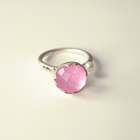 sterling silver ring with 14k gold granulation and sidef, pink sapphire, quartz and white culture pearl