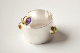 Match Point sterling silver tricolor ring