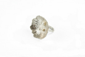 moon flower reticulated sterling silver and 18 k gold ring