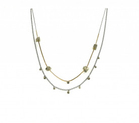 Supernova sterling silver and 14k/20 gold-filled pyrite necklace