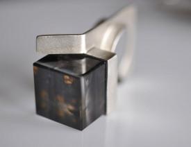 Magic Cube oxidized sterling silver quartz ring