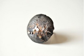 mimesis sterling silver reticulated ring with pyrite on schist