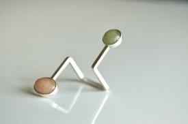 90° inel deschis din argint cu doua berile