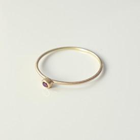 Minimalist 18k gold ring with ruby, Corina Mardari