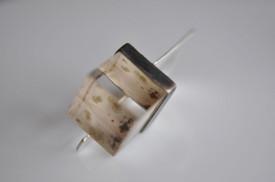 inel Magic Cube din argint, cu cub din cuart