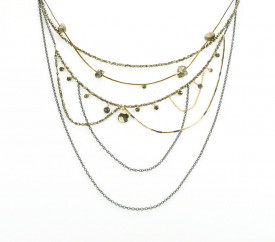 Supernova multilayered sterling silver and 14k/20 gold filled pyrite necklace
