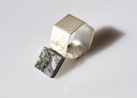 Mimesis pyrite on schist reticulated sterling silver ring