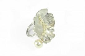 moon flower seed pearls sterling silver ring