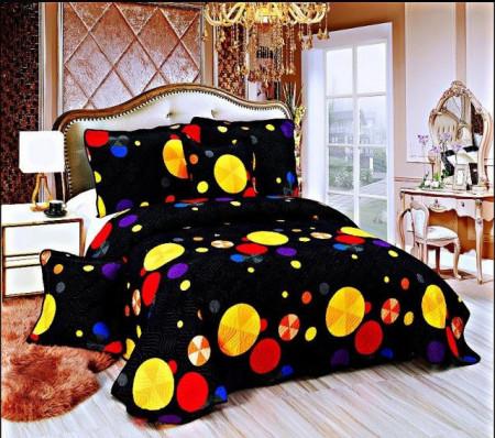 Cuvertura de pat din bumbac matlasat imprimat + 4 fete perna ES88