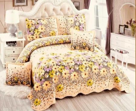 Cuvertura de pat din bumbac matlasat imprimat + 4 fete perna ES96