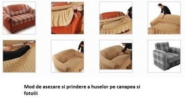 Husa elastica pentru coltar cu volanas culoare Caramiziu