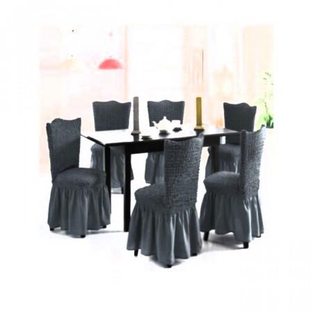 Set 6 huse scaune creponate si elastice (cu volanase) - Cenusiu