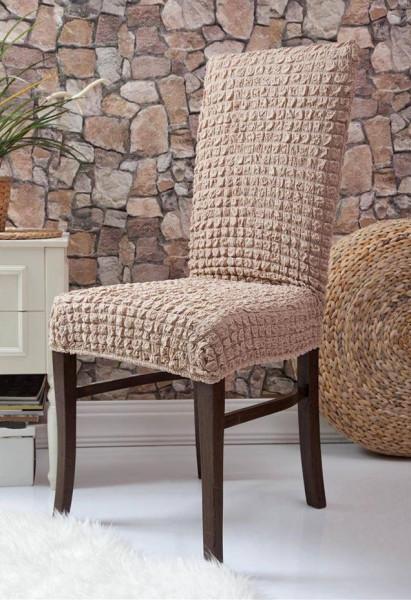 Set 6 huse scaune - creponate si elastice (fara volanase) - Bej Cacao cu lapte