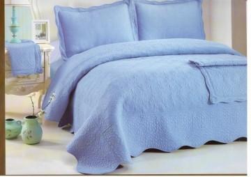 Poze Cuvertura de pat si 2 fete perna din bumbac brodat - EC32