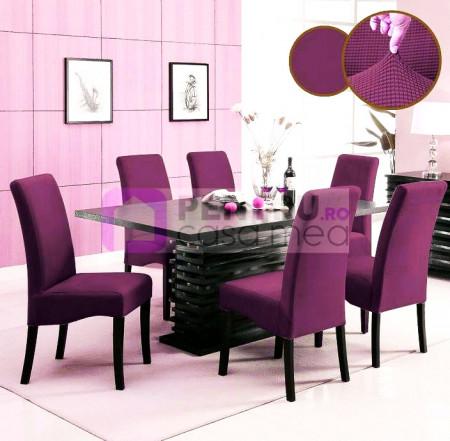 Set 6 huse elastice pentru scaune culoare Visiniu
