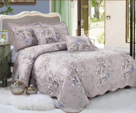 Cuvertura de pat din bumbac matlasat imprimat + 4 fete perna ES17