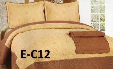 Poze Cuvertura de pat si 2 fete perna din bumbac brodat - EC12