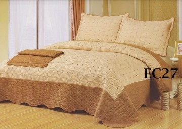 Poze Cuvertura de pat si 2 fete perna din bumbac brodat - EC27