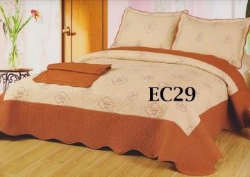 Poze Cuvertura de pat si 2 fete perna din bumbac brodat - EC29