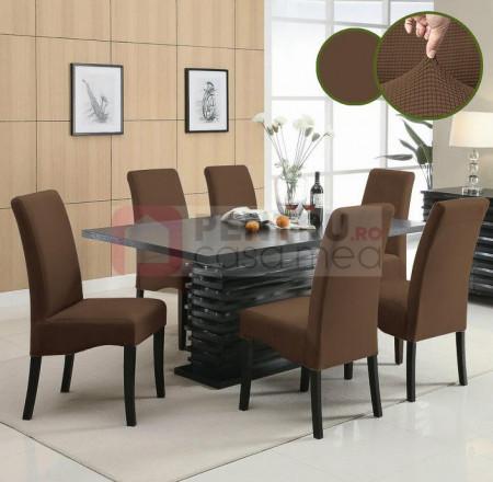 Set 6 huse elastice pentru scaune culoare Maro