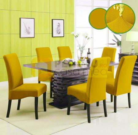 Set 6 huse elastice pentru scaune culoare Mustar