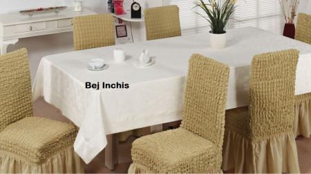Set 6 huse scaune creponate si elastice (cu volanase) - Bej Inchis